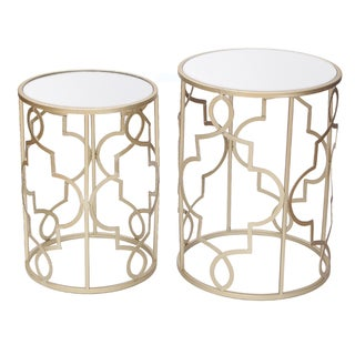 Adeco Goldtone Metal and Glass Nesting Side Table (Set of 2)