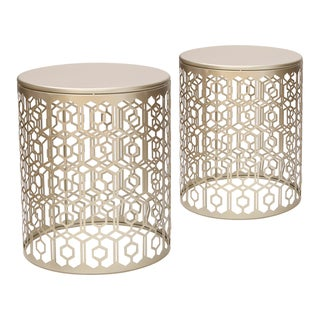 Link to Adeco Web Pattern Gold Nesting Side Table Set (Set of 2) Similar Items in Living Room Furniture