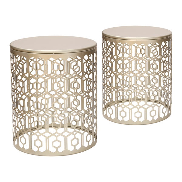 Adeco Web Pattern Gold Nesting Side Table Set (Set of 2). Opens flyout.