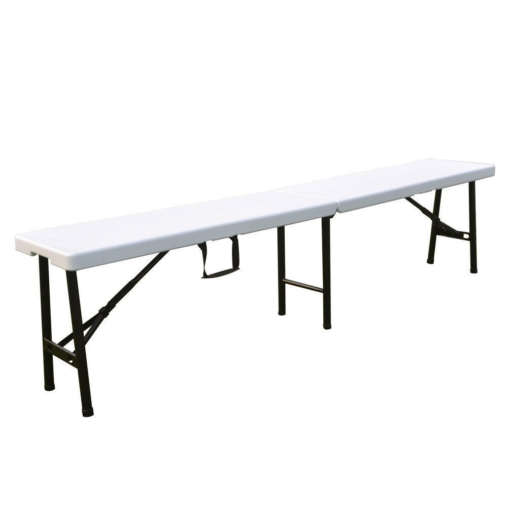 Ares White Polyethylene Indoor/ Outdoor Folding Bench (Wh...