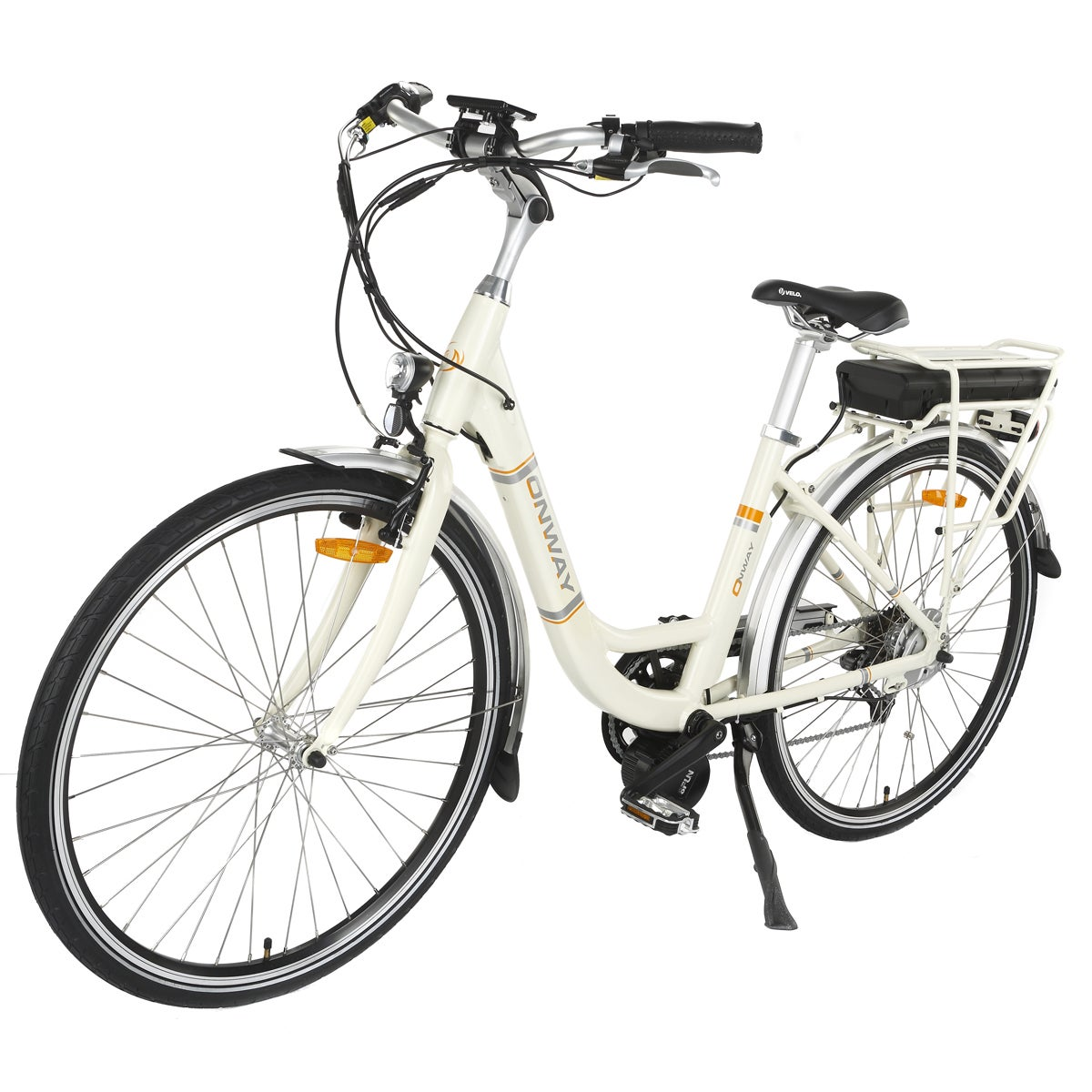Onway Women's White Aluminum 28-inch 7-speed City E-bike ...