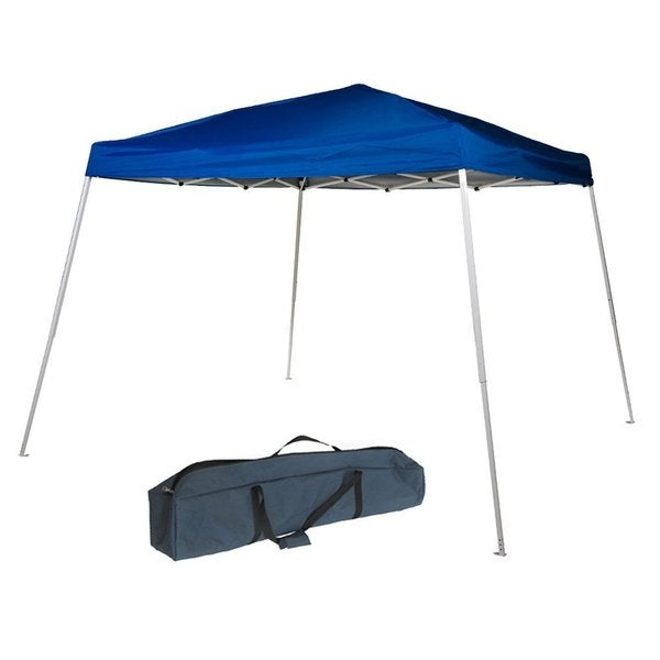 Abba Patio 8 x 8 Foot Slant Leg Instant Easy Pop Up Blue Canopy with Roller Bag