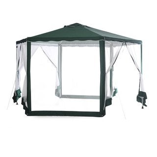 Abba Patio Green and White 6.6-foot Diameter Hexagon Outdoor Canopy Shelter With Mosquito Net