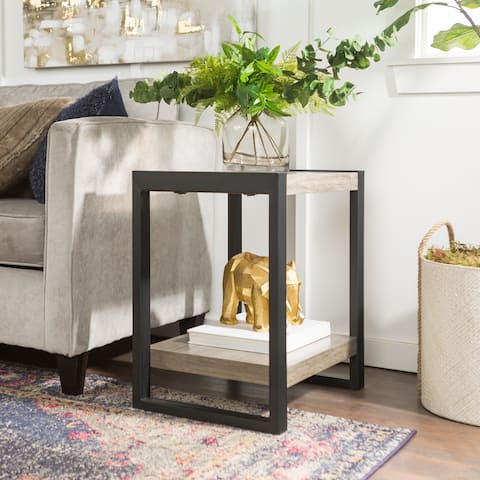 24-inch Urban Blend Driftwood Side Table with Lower Shelf