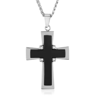 Crucible Men's Black Onyx and Stainless Steel Cross Pendant on 24 Inch Beveled Curb Chain Necklace