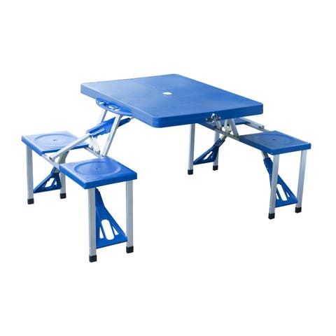 Outsunny Blue Aluminum Portable/Folding Outdoor/Camp Suitcase Picnic Table with 4 Seats