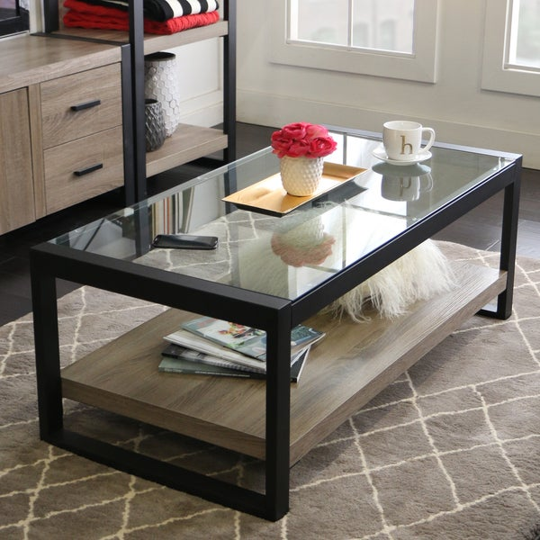 Shop 48-inch Urban Blend Coffee Table With Glass Top