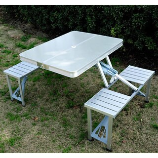 Outsunny Outdoor Silver Aluminum Portable Folding Camp Suitcase Picnic Table with 4 Seats