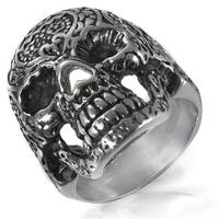 Men's Stainless Steel Day of the Dead Skull Ring - 28mm Wide