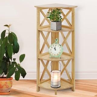 Montego 3-Shelf Corner Folding Black/Natural Wood Bookcase with Mantel Top