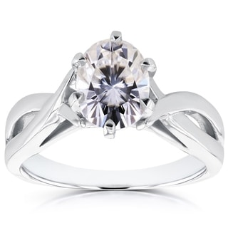 Annello by Kobelli 14k White Gold Forever Brilliant Oval Moissanite Solitaire Crossover Ring
