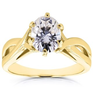 Annello by Kobelli 14k Yellow Gold Forever Brilliant Oval Moissanite Solitaire Crossover Ring