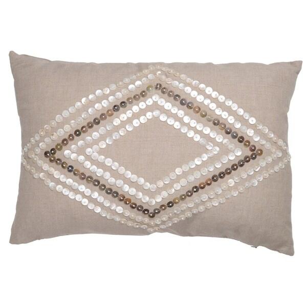 Dashielle White/Silvertone Linen 14-inch x 20-inch Beaded Throw Pillow