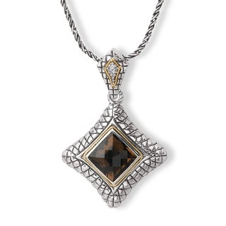Avanti Sterling Silver and 18K Yellow Gold Smoky Quartz Pendant with Diamond Accent