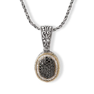 Avanti Sterling Silver and 18K Yellow Gold 5/8CT TDW Black and White Diamond Oval Pendant Necklace (I-J, I1-I2)