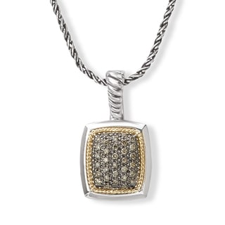 Avanti Sterling Silver and 18K Yellow Gold 1/2 CT TDW Brown Diamond Cushion Shape Pendant Necklace (Brown, SI2-I1)