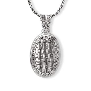Avanti Sterling Silver Woven Design Oval Pendant Necklace