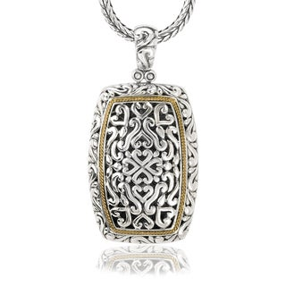 Avanti Sterling Silver and 18K Yellow Gold Rectangular Swirl Design Pendant Necklace