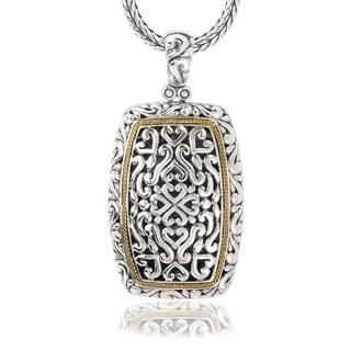 Avanti Sterling Silver and 18K Yellow Gold Rectangular Swirl Design Pendant Necklace