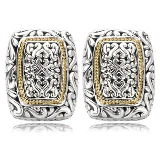 Avanti Sterling Silver and 18K Yellow Gold Rectangular Swirl Design Earrings