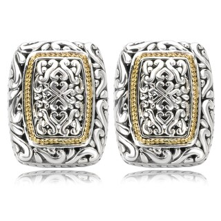 Avanti Sterling Silver and 18K Yellow Gold Rectangular Swirl Design Earrings
