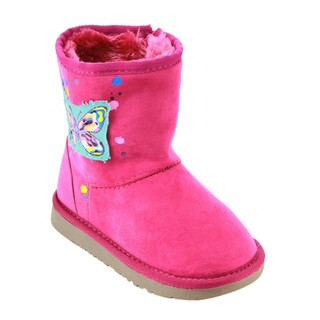 Betani Girl's Pink Faux-suede Butterfly-themed Flat-heel Snow Boots