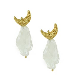One-of-a-kind Michael Valitutti Crescent Moon White Pearl Stud Earrings