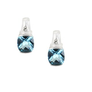 One-of-a-kind Michael Valitutti 14k Blue Topaz and Diamond Stud Earrings