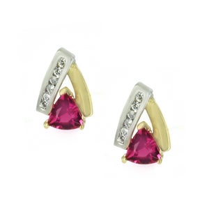 One-of-a-kind Michael Valitutti 14k Two-Tone Pink Tourmaline and Diamond Stud Earrings