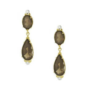 One-of-a-kind Michael Valitutti 10k Smoky Quartz Dangling Stud Earrings