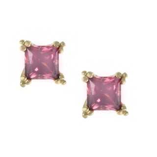 One-of-a-kind Michael Valitutti 14k Square Rhodolite Stud Earrings