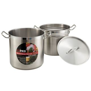 Winco Stainless Steel 16-quart Double Boiler with Cover