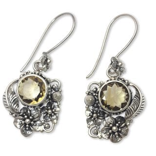 Handcrafted Sterling Silver 'Sun Blossoms' Citrine Earrings (Indonesia)