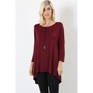 JED Women's Rayon/Spandex Relaxed Fit 3/4-sleeve Soft Tunic Top|https://ak1.ostkcdn.com/images/products/12589357/P19386720.jpg?impolicy=medium