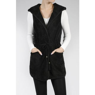 JED Women's Plush Vegan Fur Hoodie Vest with Braided Belt
