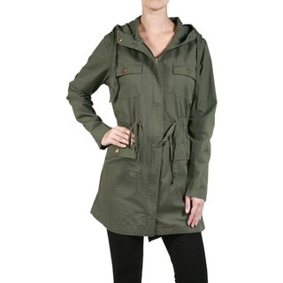 JED Women's Cotton Drawstring-waist Long-sleeve Hooded Utility Jacket