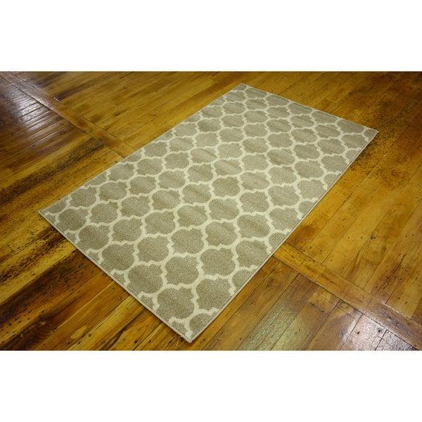 Machine-made Turkish Trellis Tan Polypropylene Rug (3'2 x 5'2)