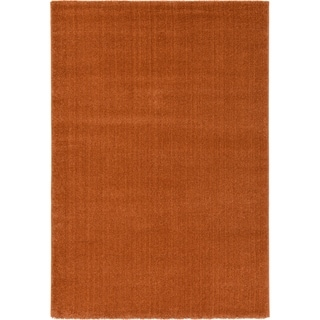 Machine-made Turkish Solo Rust Polypropylene Rug (4'7 x 6'7 )