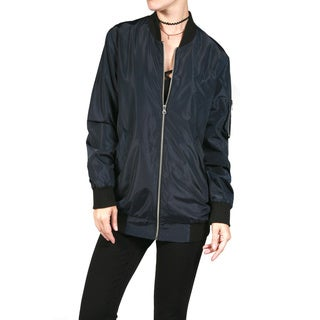 JED Women's Polyester Long-line Bomber Jacket