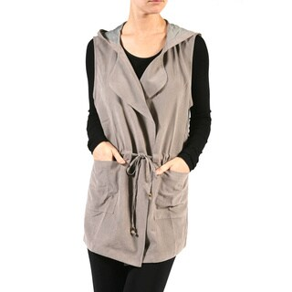 JED Women's Khaki Polyester and Nylon Drape Front Drawstring Waist Hooded Cardigan Vest