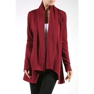 JED Women's Polyester Fleece Long-sleeved Open-front Cardigan