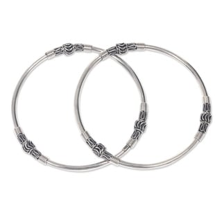 Set of 2 Handcrafted Sterling Silver 'Kintamani Moon' Bangle Bracelets (Indonesia)