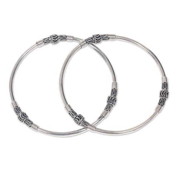 Set of 2 Handmade Sterling Silver 'Kintamani Moon' Bangle Bracelets (Indonesia)