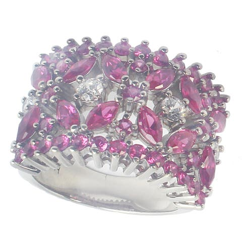 Gems en Vogue Sterling Silver Created Raspberry Sapphire & White Topaz Cocktail Ring