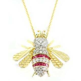 One-of-a-kind Michael Valitutti Created Ruby, Cubic Zirconia and Chrome Diospide Bee Pendant