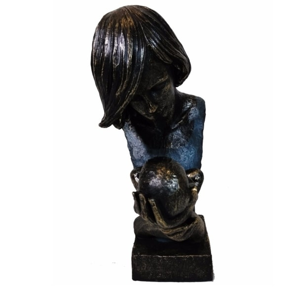 Patina Finish Women Holding Baby in Loving Hands Bust Sculpture by Urban Port