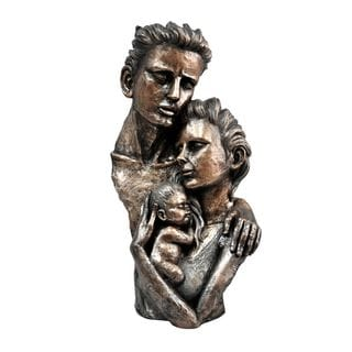 Urban Port Black Polyresin Man with Child and Women Statue Sculpture