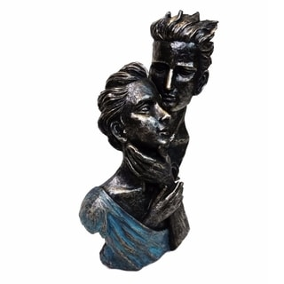 Patina Black Finish Romantic Couple Bust Sculpture by Urban Port