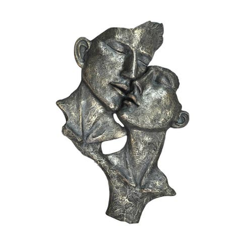Urban Port 'Loving Man and Woman' Grey Resin Patina-finished Sculpture