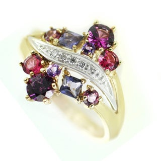One-of-a-kind Michael Valitutti 14k Rhodolite Garnet, Iolite, Pink Tourmaline, Amethyst and Diamond Ring